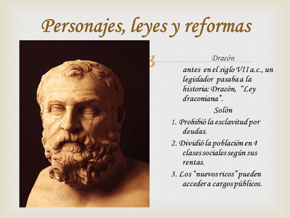 Dracón antes en el siglo VII a.c., un legislador pasaba a la historia: Dracón, Ley draconiana. Solón 1. Prohibió la esclavitud por deudas. 2. Dividió