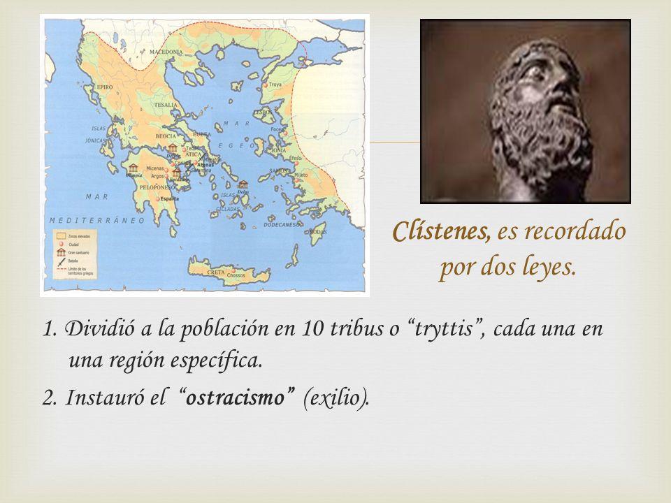 1. Dividió a la población en 10 tribus o tryttis, cada una en una región específica. 2. Instauró el ostracismo (exilio). Clístenes, es recordado por d