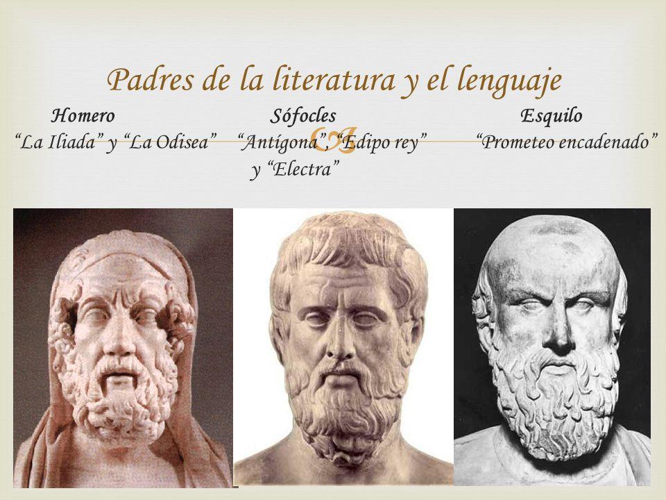 Homero Sófocles Esquilo La Iliada y La Odisea Antígona, Edipo rey Prometeo encadenado y Electra Padres de la literatura y el lenguaje