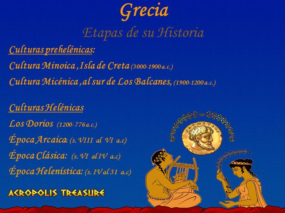 Culturas prehelénicas: Cultura Minoica,Isla de Creta (3000-1900 a.c.) Cultura Micénica,al sur de Los Balcanes, (1900-1200 a.c.) Culturas Helénicas Los