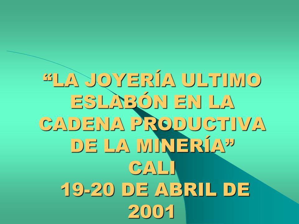 LA JOYERÍA ULTIMO ESLABÓN EN LA CADENA PRODUCTIVA DE LA MINERÍA CALI 19-20 DE ABRIL DE 2001