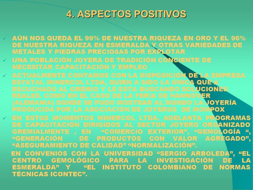 4. ASPECTOS POSITIVOS AÚN NOS QUEDA EL 99% DE NUESTRA RIQUEZA EN ORO Y EL 96% DE NUESTRA RIQUEZA EN ESMERALDA Y OTRAS VARIEDADES DE METALES Y PIEDRAS