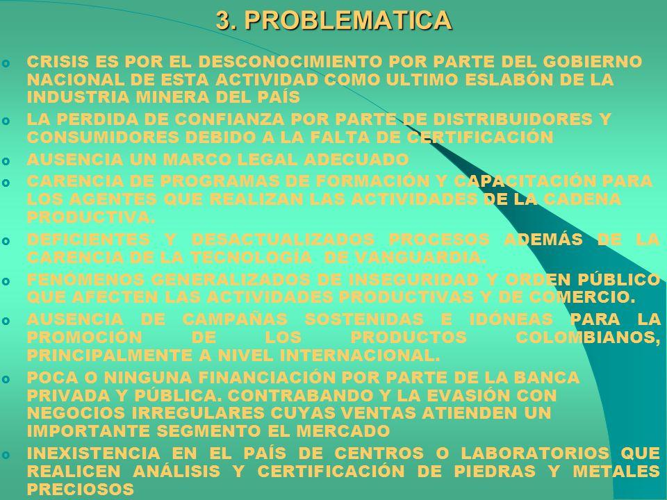 3. PROBLEMATICA o CRISIS ES POR EL DESCONOCIMIENTO POR PARTE DEL GOBIERNO NACIONAL DE ESTA ACTIVIDAD COMO ULTIMO ESLABÓN DE LA INDUSTRIA MINERA DEL PA