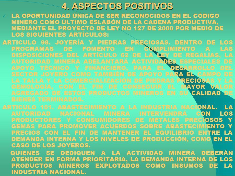 4. ASPECTOS POSITIVOS LA OPORTUNIDAD ÚNICA DE SER RECONOCIDOS EN EL CÓDIGO MINERO COMO ÚLTIMO ESLABÓN DE LA CADENA PRODUCTIVA, MEDIANTE EL PROYECTO DE
