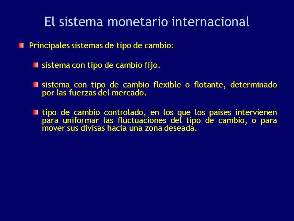 El sistema monetario internacional Principales sistemas de tipo de cambio: sistema con tipo de cambio fijo. sistema con tipo de cambio flexible o flot