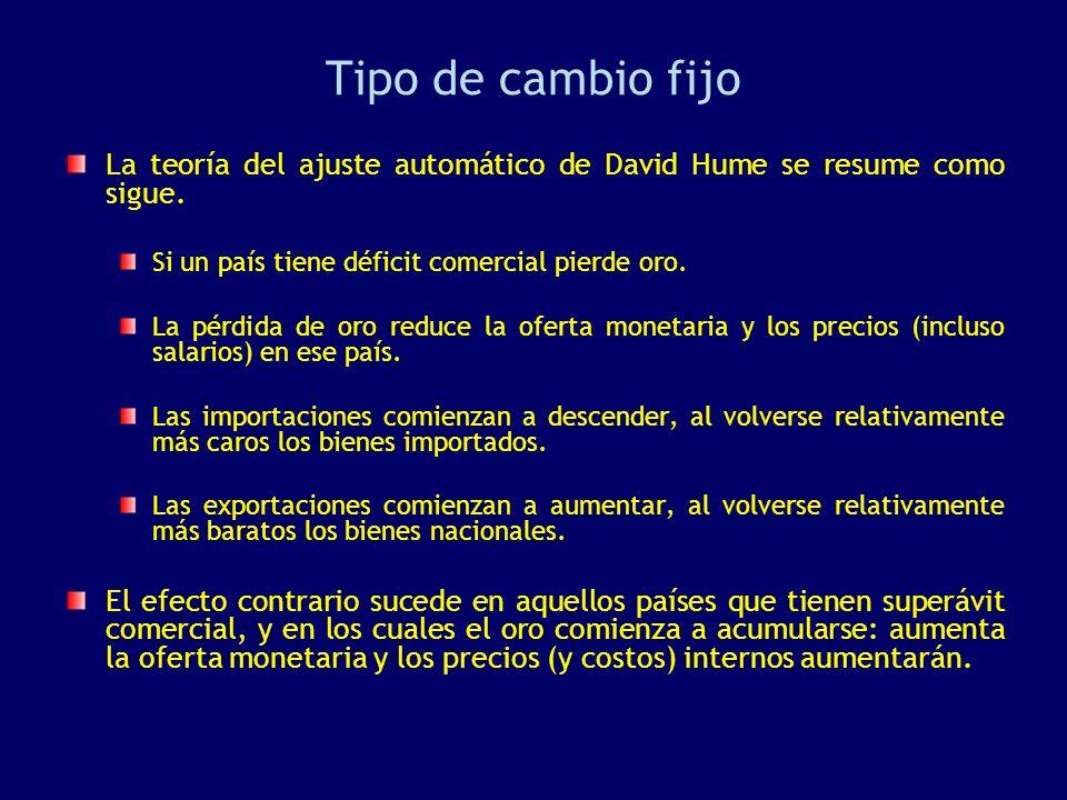 Tipo de cambio fijo La teoría del ajuste automático de David Hume se resume como sigue. Si un país tiene déficit comercial pierde oro. La pérdida de o