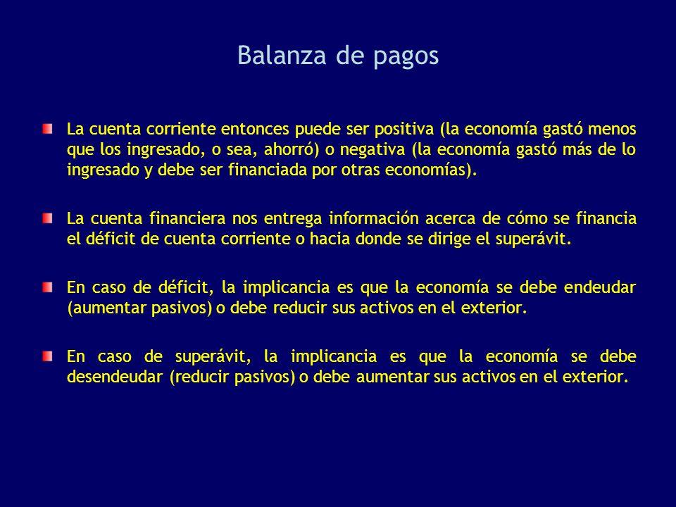 La cuenta corriente entonces puede ser positiva (la economía gastó menos que los ingresado, o sea, ahorró) o negativa (la economía gastó más de lo ing