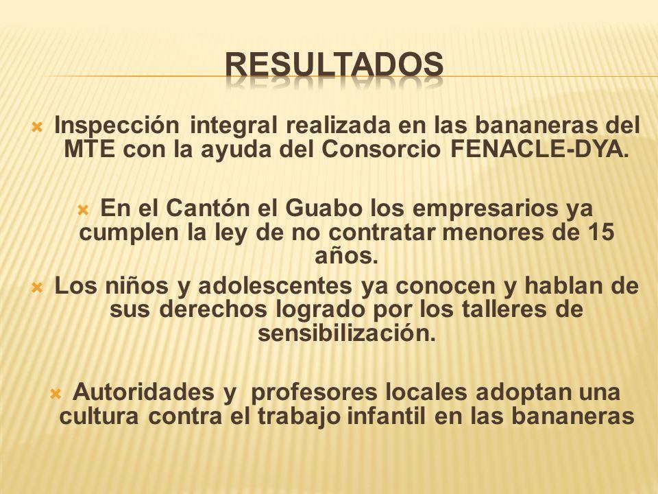 Inspección integral realizada en las bananeras del MTE con la ayuda del Consorcio FENACLE-DYA.