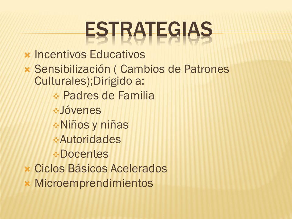Incentivos Educativos Sensibilización ( Cambios de Patrones Culturales);Dirigido a: Padres de Familia Jóvenes Niños y niñas Autoridades Docentes Ciclos Básicos Acelerados Microemprendimientos