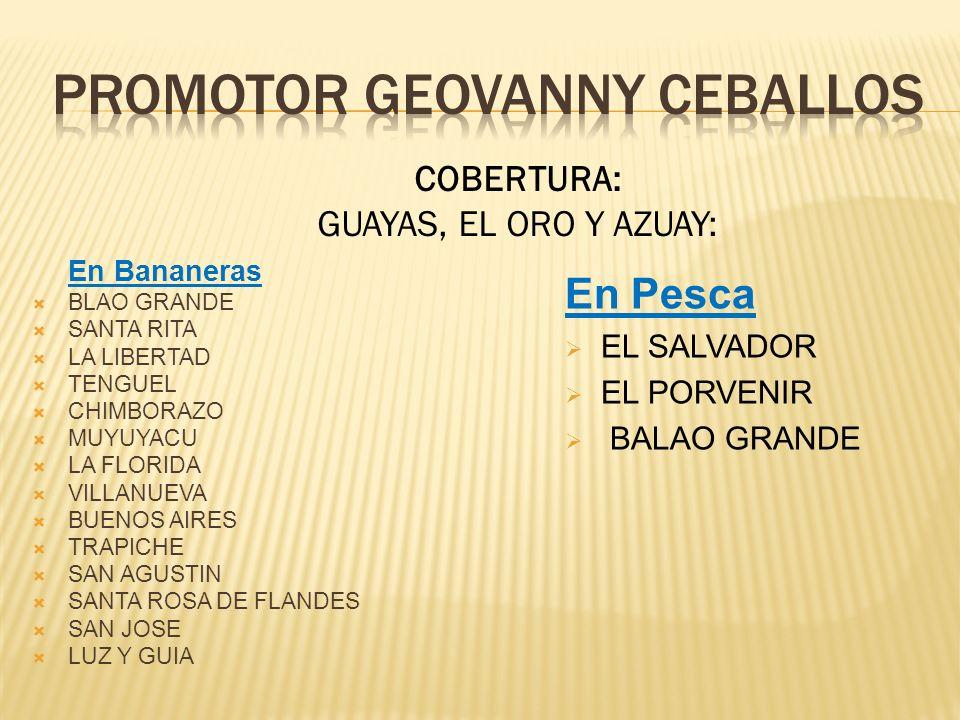 En Bananeras BLAO GRANDE SANTA RITA LA LIBERTAD TENGUEL CHIMBORAZO MUYUYACU LA FLORIDA VILLANUEVA BUENOS AIRES TRAPICHE SAN AGUSTIN SANTA ROSA DE FLANDES SAN JOSE LUZ Y GUIA COBERTURA: GUAYAS, EL ORO Y AZUAY: En Pesca EL SALVADOR EL PORVENIR BALAO GRANDE