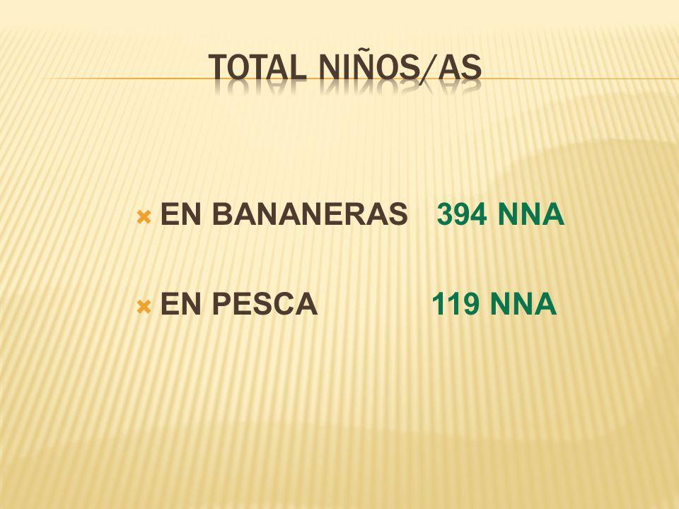 EN BANANERAS 394 NNA EN PESCA 119 NNA