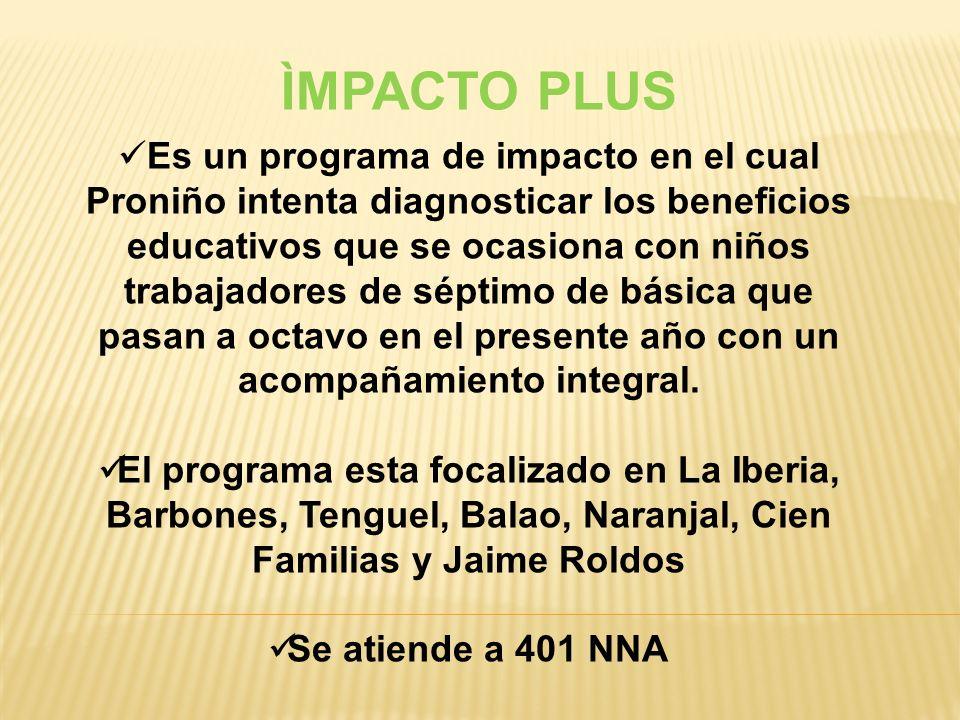 ÌMPACTO PLUS Es un programa de impacto en el cual Proniño intenta diagnosticar los beneficios educativos que se ocasiona con niños trabajadores de séptimo de básica que pasan a octavo en el presente año con un acompañamiento integral.