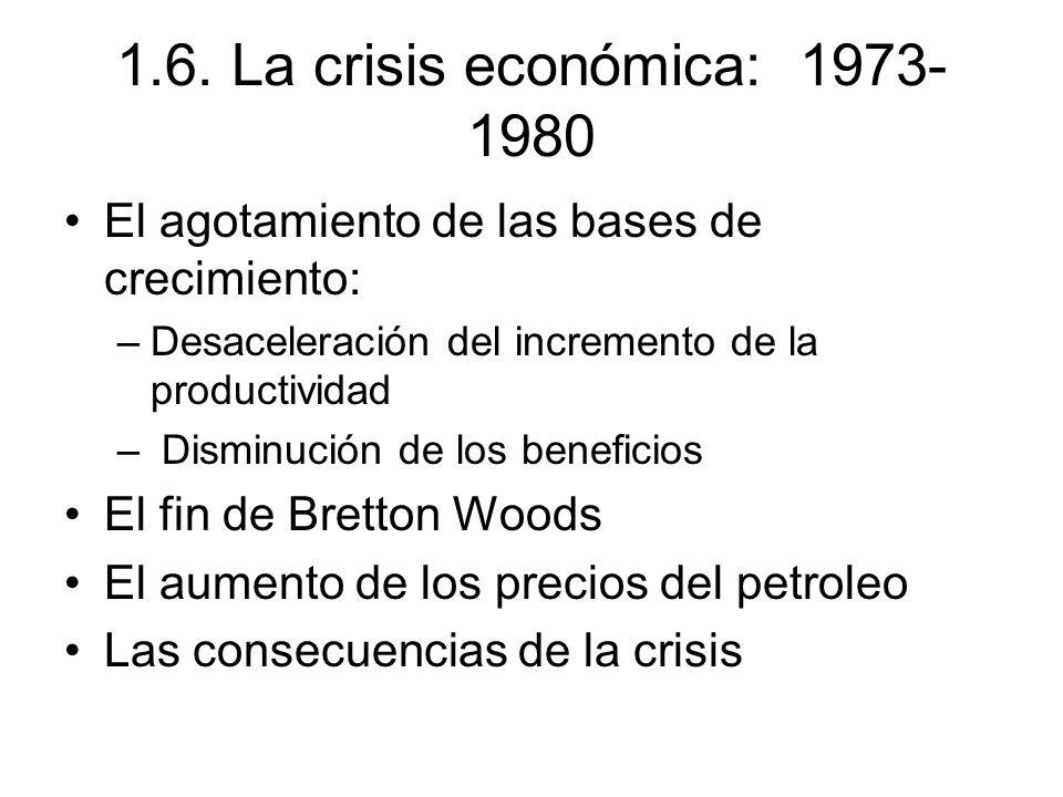 1.6. La crisis económica: 1973- 1980 El agotamiento de las bases de crecimiento: –Desaceleración del incremento de la productividad – Disminución de l