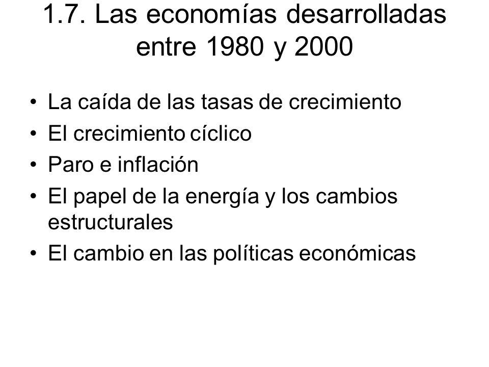 1.7. Las economías desarrolladas entre 1980 y 2000 La caída de las tasas de crecimiento El crecimiento cíclico Paro e inflación El papel de la energía