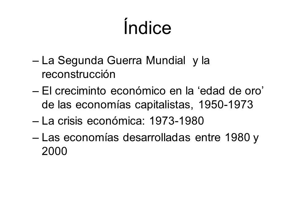 Índice –La Segunda Guerra Mundial y la reconstrucción –El creciminto económico en la edad de oro de las economías capitalistas, 1950-1973 –La crisis e