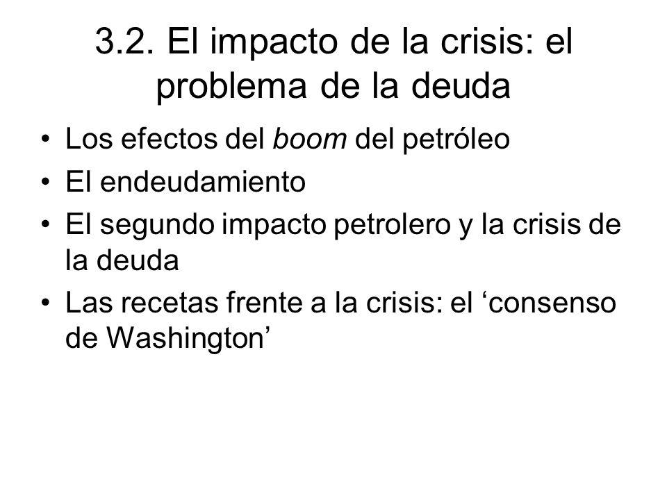 3.2. El impacto de la crisis: el problema de la deuda Los efectos del boom del petróleo El endeudamiento El segundo impacto petrolero y la crisis de l