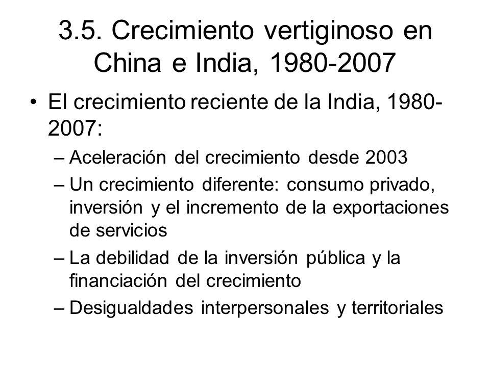 3.5. Crecimiento vertiginoso en China e India, 1980-2007 El crecimiento reciente de la India, 1980- 2007: –Aceleración del crecimiento desde 2003 –Un