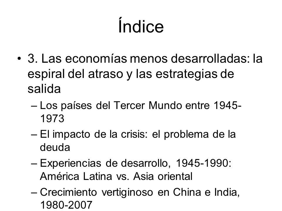 Índice 3. Las economías menos desarrolladas: la espiral del atraso y las estrategias de salida –Los países del Tercer Mundo entre 1945- 1973 –El impac