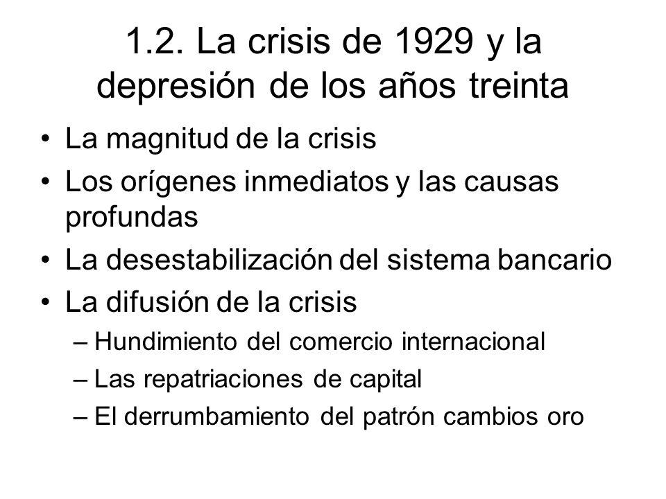 1.2. La crisis de 1929 y la depresión de los años treinta La magnitud de la crisis Los orígenes inmediatos y las causas profundas La desestabilización