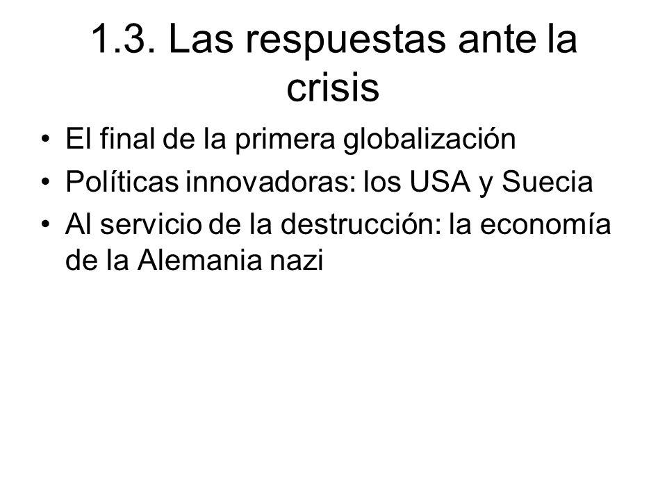 1.3. Las respuestas ante la crisis El final de la primera globalización Políticas innovadoras: los USA y Suecia Al servicio de la destrucción: la econ