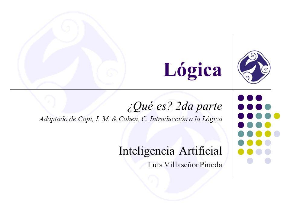 Lógica ¿Qué es.2da parte Adaptado de Copi, I. M. & Cohen, C.