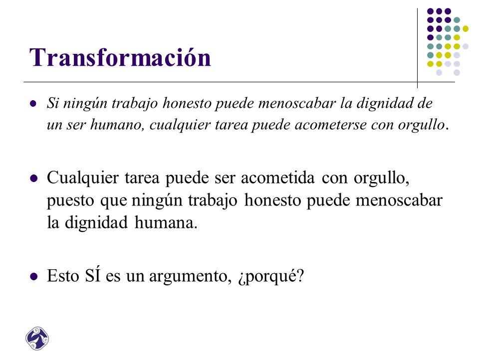 Transformación Si ningún trabajo honesto puede menoscabar la dignidad de un ser humano, cualquier tarea puede acometerse con orgullo.