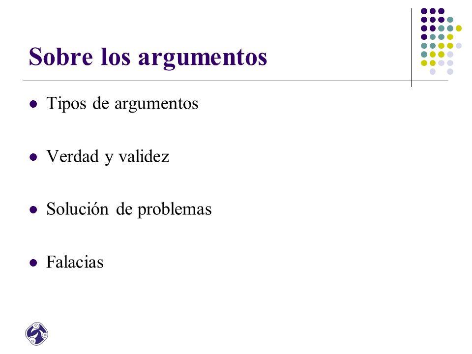 Sobre los argumentos Tipos de argumentos Verdad y validez Solución de problemas Falacias