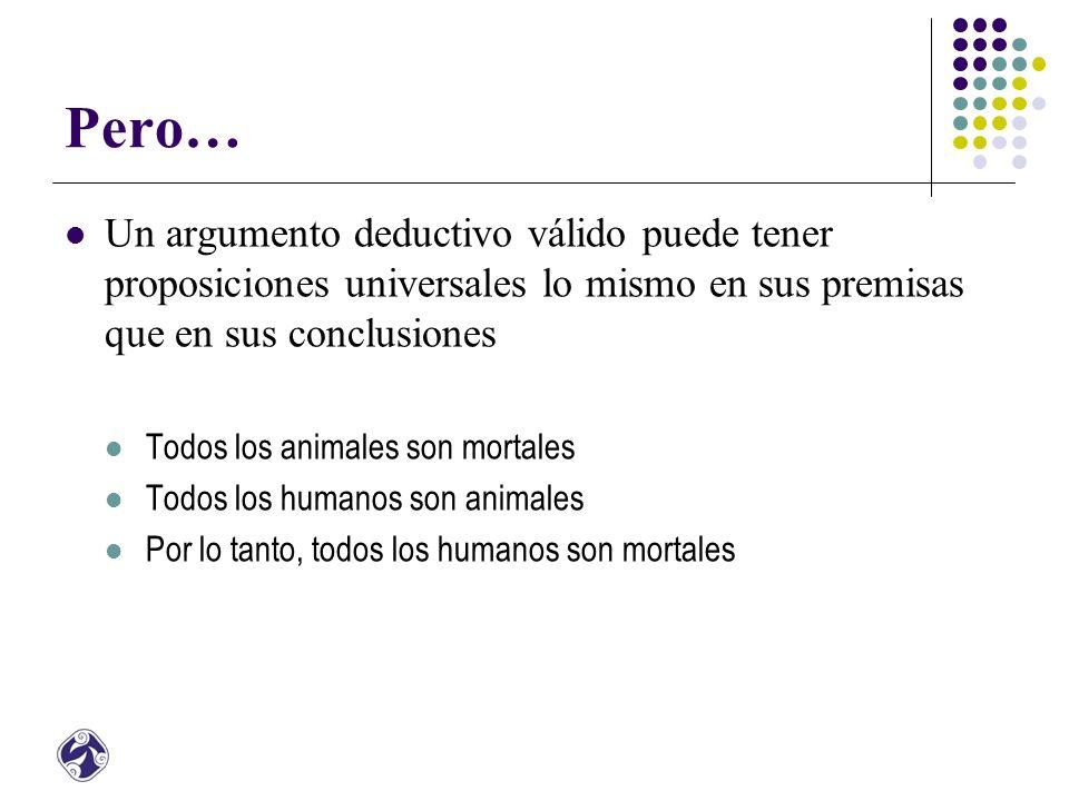 Pero… Un argumento deductivo válido puede tener proposiciones universales lo mismo en sus premisas que en sus conclusiones Todos los animales son mortales Todos los humanos son animales Por lo tanto, todos los humanos son mortales