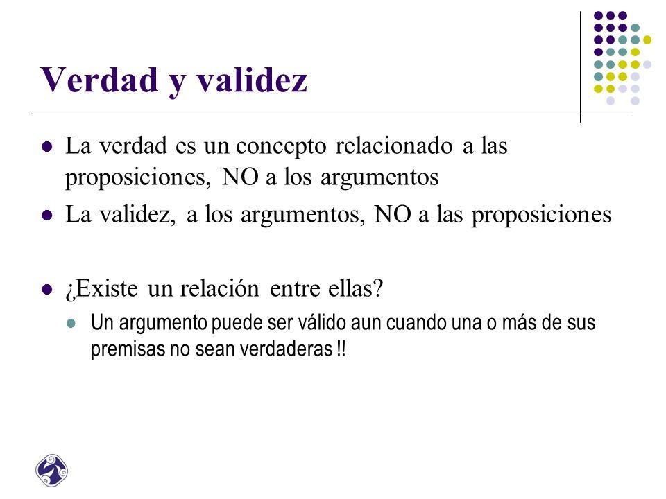 Verdad y validez La verdad es un concepto relacionado a las proposiciones, NO a los argumentos La validez, a los argumentos, NO a las proposiciones ¿Existe un relación entre ellas.