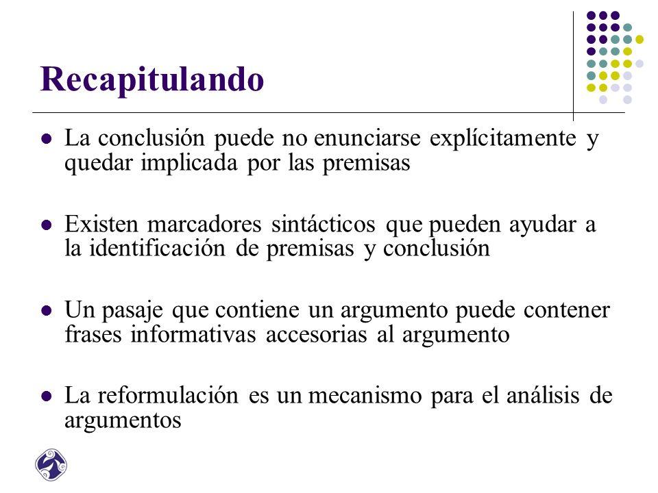 Argumentos deductivos e inductivos En un argumento deductivo las premisas y la conclusión están fuertemente relacionadas O las premisas apoyan a la conclusión o el argumento deductivo es inválido