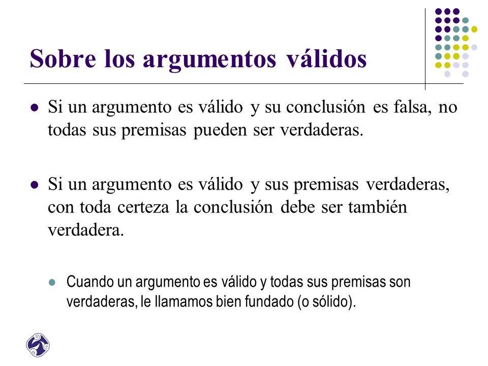 Sobre los argumentos válidos Si un argumento es válido y su conclusión es falsa, no todas sus premisas pueden ser verdaderas.