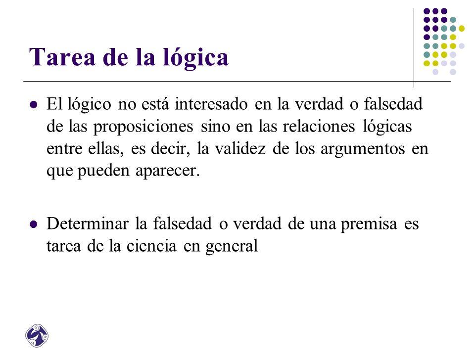 Tarea de la lógica El lógico no está interesado en la verdad o falsedad de las proposiciones sino en las relaciones lógicas entre ellas, es decir, la validez de los argumentos en que pueden aparecer.