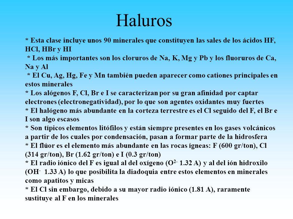 Haluros * Esta clase incluye unos 90 minerales que constituyen las sales de los ácidos HF, HCl, HBr y HI * Los más importantes son los cloruros de Na,
