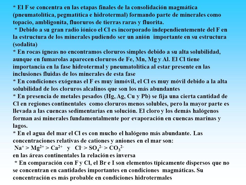 * El F se concentra en las etapas finales de la consolidación magmática (pneumatolítica, pegmatítica e hidrotermal) formando parte de minerales como t
