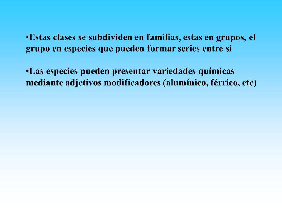 Estas clases se subdividen en familias, estas en grupos, el grupo en especies que pueden formar series entre si Las especies pueden presentar variedad