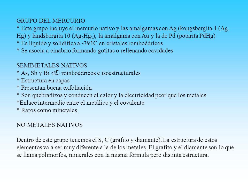 GRUPO DEL MERCURIO * Este grupo incluye el mercurio nativo y las amalgamas con Ag (kongsbergita 4 (Ag, Hg) y landsbergita 10 (Ag 2 Hg 3 ), la amalgama