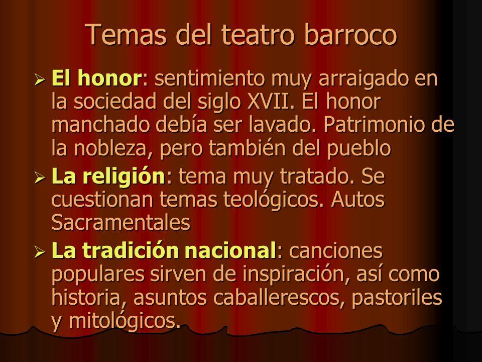 Temas del teatro barroco El honor: sentimiento muy arraigado en la sociedad del siglo XVII.