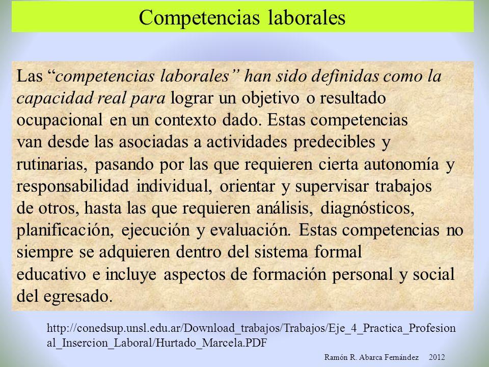 Competencias y su carácter integrador Elementos cognitivosCapacidades de acción Elementos éticos, valores De orden jurídico y político El mundo actual
