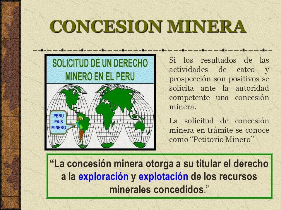 CONCESION MINERA Si los resultados de las actividades de cateo y prospección son positivos se solicita ante la autoridad competente una concesión minera.