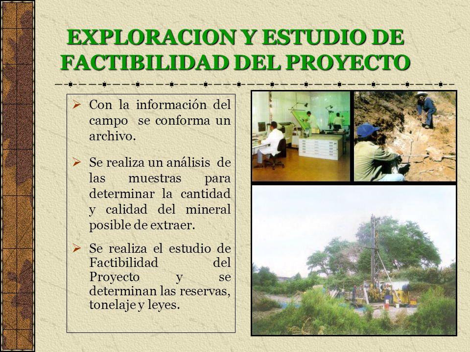 EXPLORACION Y ESTUDIO DE FACTIBILIDAD DEL PROYECTO Con la información del campo se conforma un archivo. Se realiza un análisis de las muestras para de