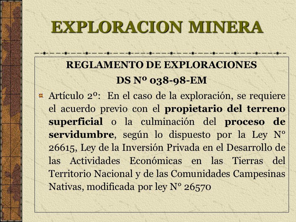 EXPLORACION MINERA REGLAMENTO DE EXPLORACIONES DS Nº 038-98-EM Artículo 2º: En el caso de la exploración, se requiere el acuerdo previo con el propiet