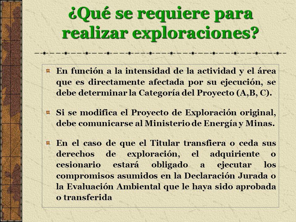 ¿Qué se requiere para realizar exploraciones? En función a la intensidad de la actividad y el área que es directamente afectada por su ejecución, se d
