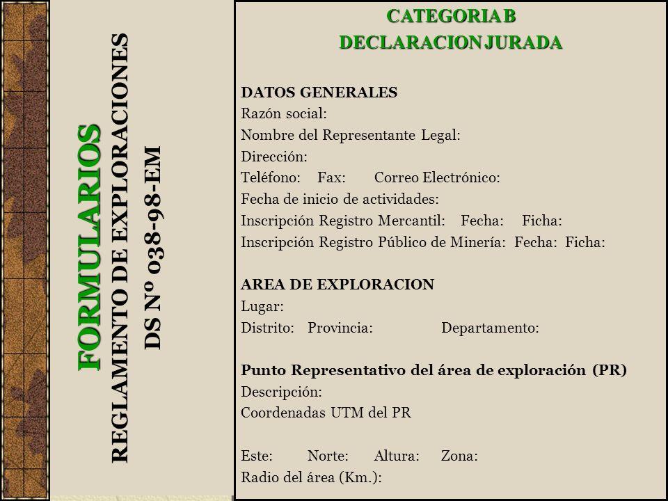 CATEGORIA B DECLARACION JURADA DATOS GENERALES Razón social: Nombre del Representante Legal: Dirección: Teléfono: Fax:Correo Electrónico: Fecha de ini