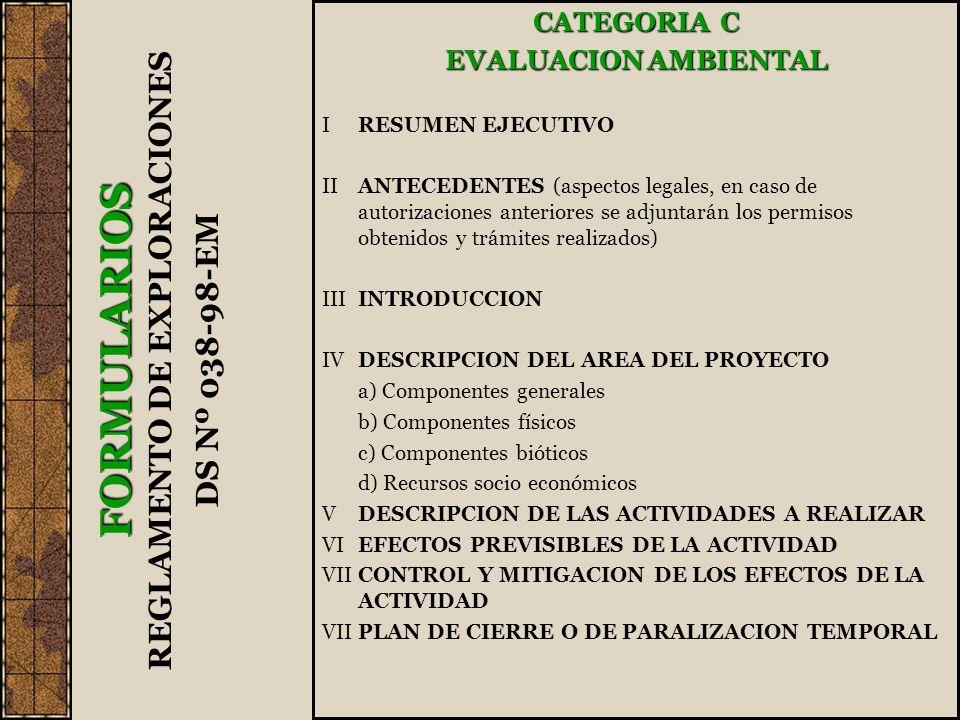 CATEGORIA C EVALUACION AMBIENTAL IRESUMEN EJECUTIVO IIANTECEDENTES (aspectos legales, en caso de autorizaciones anteriores se adjuntarán los permisos obtenidos y trámites realizados) IIIINTRODUCCION IVDESCRIPCION DEL AREA DEL PROYECTO a) Componentes generales b) Componentes físicos c) Componentes bióticos d) Recursos socio económicos VDESCRIPCION DE LAS ACTIVIDADES A REALIZAR VIEFECTOS PREVISIBLES DE LA ACTIVIDAD VII CONTROL Y MITIGACION DE LOS EFECTOS DE LA ACTIVIDAD VIIPLAN DE CIERRE O DE PARALIZACION TEMPORAL FORMULARIOS REGLAMENTO DE EXPLORACIONES DS Nº 038-98-EM