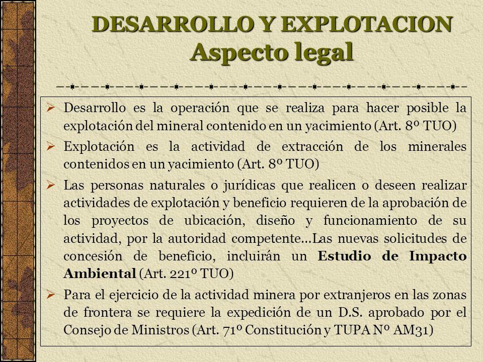 DESARROLLO Y EXPLOTACION Aspecto legal Desarrollo es la operación que se realiza para hacer posible la explotación del mineral contenido en un yacimiento (Art.