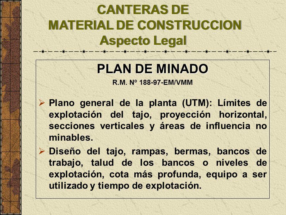 CANTERAS DE MATERIAL DE CONSTRUCCION Aspecto Legal PLAN DE MINADO R.M. Nº 188-97-EM/VMM Plano general de la planta (UTM): Límites de explotación del t