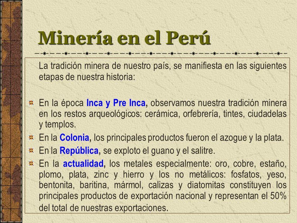 Minería en el Perú La tradición minera de nuestro país, se manifiesta en las siguientes etapas de nuestra historia: En la época Inca y Pre Inca, observamos nuestra tradición minera en los restos arqueológicos: cerámica, orfebrería, tintes, ciudadelas y templos.