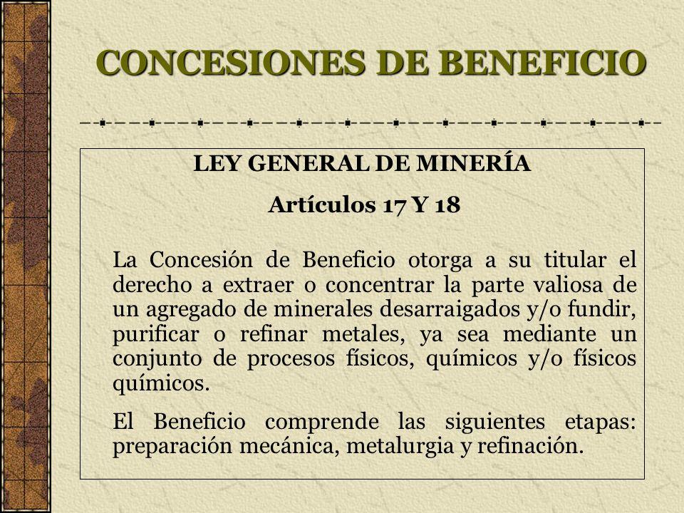 CONCESIONES DE BENEFICIO LEY GENERAL DE MINERÍA Artículos 17 Y 18 La Concesión de Beneficio otorga a su titular el derecho a extraer o concentrar la p