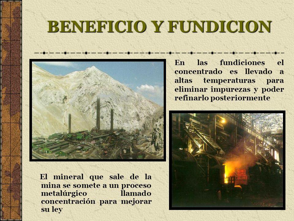 BENEFICIO Y FUNDICION El mineral que sale de la mina se somete a un proceso metalúrgico llamado concentración para mejorar su ley En las fundiciones e