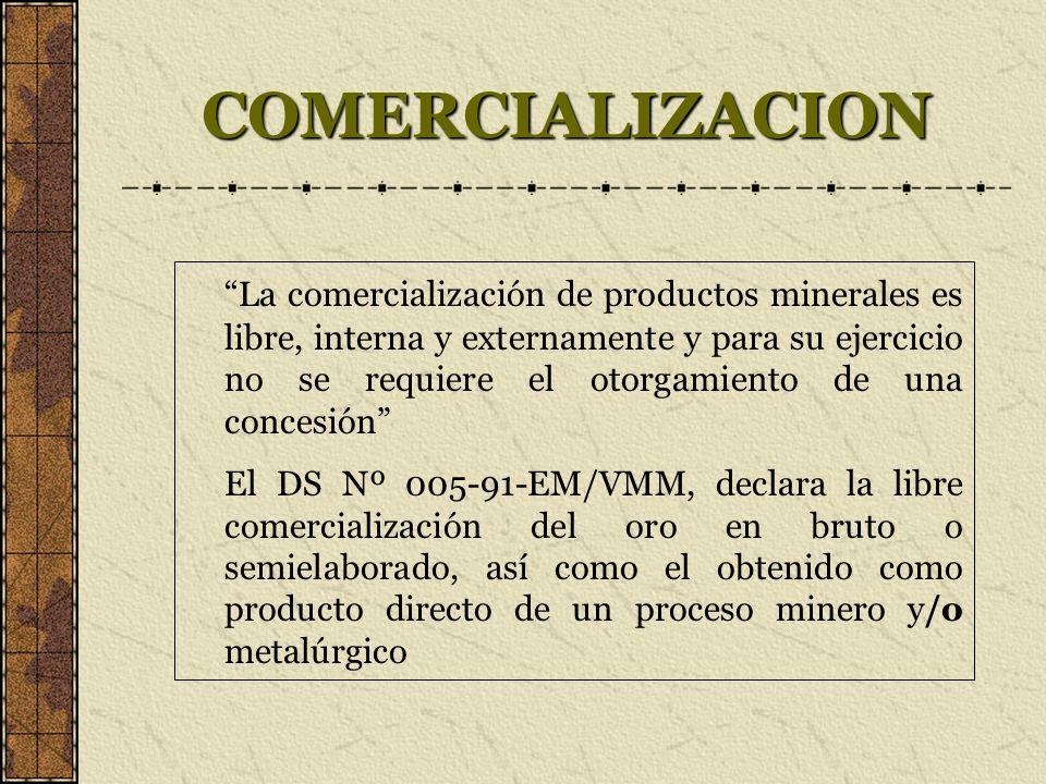 COMERCIALIZACION La comercialización de productos minerales es libre, interna y externamente y para su ejercicio no se requiere el otorgamiento de una